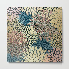 Gold Art, Floral Art Prints with Blue and Pink Metal Print