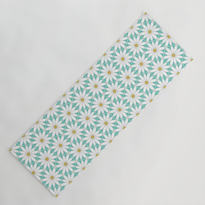 Daisy Hex - Turquoise Yoga Mat