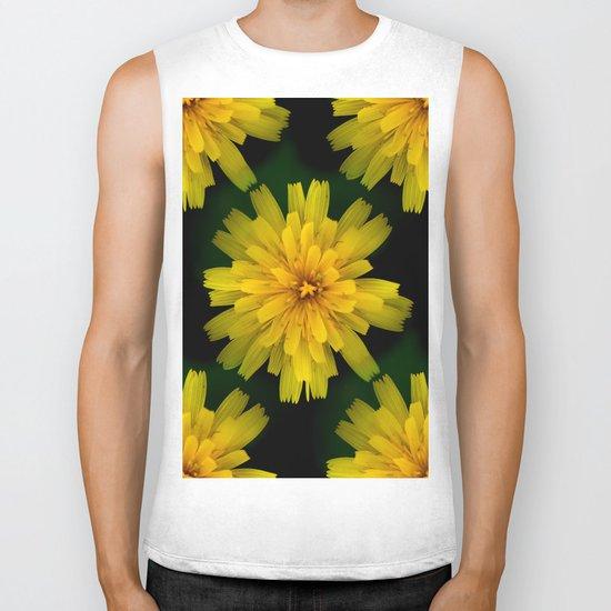 Yellow Natural Flowers On Black Background Biker Tank