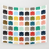 bears Wall Tapestries featuring Bears, Bears, Bears by Steph Dillon