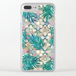 Muted Moroccan Mosaic Tiles with Palm Leaves Clear iPhone Case