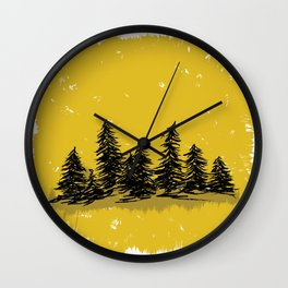 Golden Trees in the Pacific Northwest- PNW Wall Clock