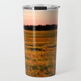 Sunset over the fields Travel Mug