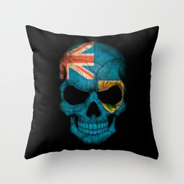 Dark Skull with Flag of Turks and Caicos Throw Pillow