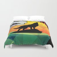 dog Duvet Covers featuring dog by mark ashkenazi