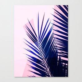 Indigo Palm Leaves on Pink Pastel Geometry #tropical #decor #lifestyle Canvas Print