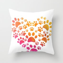 Animal Paws Heart design For Dog Lovers Throw Pillow