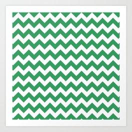 Kelly Green and White Chevron Print Art Print