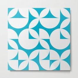 Abstract Blue Circles Modern Mid Century Geometric Pattern Scandinavian Rustic Interior Metal Print