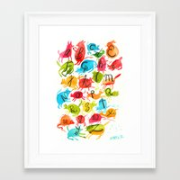 alphabet Framed Art Prints featuring Alphabet by zuzia turek