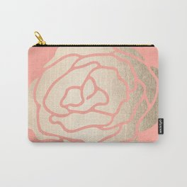 Rose White Gold Sands on Salmon Pink Carry-All Pouch
