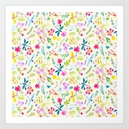 Garden of Dragonflies Art Print