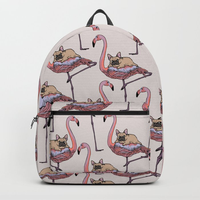 Flamingo and French Bulldog Backpack
