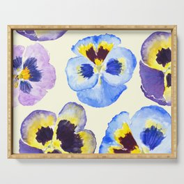 pansies pattern watercolor painting Serving Tray
