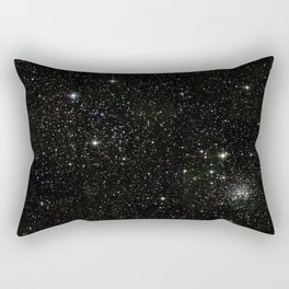 Universe Space Stars Planets Galaxy Black and White Rectangular Pillow