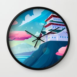 Japanese Temple On A Mountain Wall Clock
