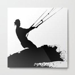 Wakeboarder Lets Go Fly A Kite Silhouette Metal Print