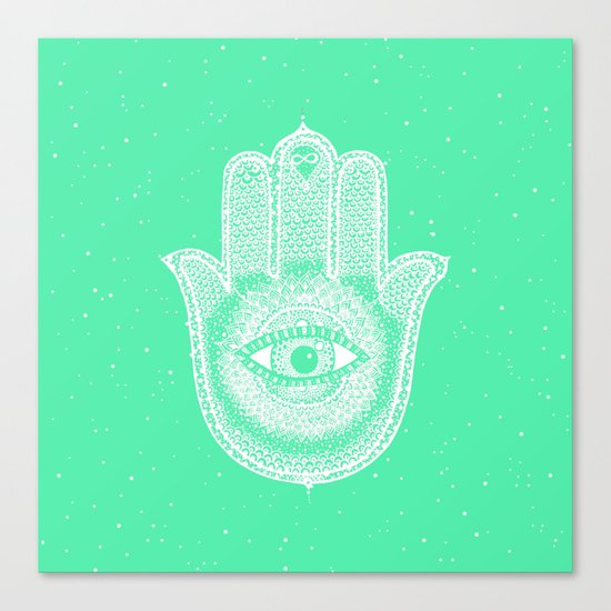 Hamsa lucky green Canvas Print