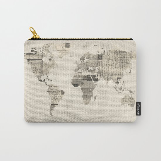 Map of the World Map from Old Postcards Carry-All Pouch