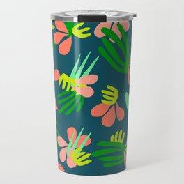 Henri's Garden in blue // tropical flora pattern Travel Mug