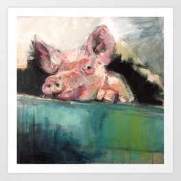 Peeping Piggy Art Print