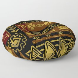 Ethnic African Golden Pattern on black and brown Floor Pillow