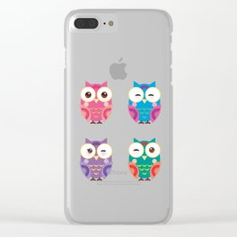 bright colorful owls on white background Clear iPhone Case