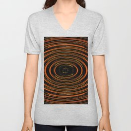 circle pattern abstract background in orange and black Unisex V-Neck