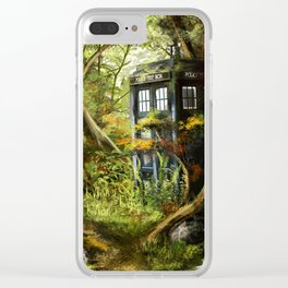 Doctor Who - Tardis in the Woods Clear iPhone Case