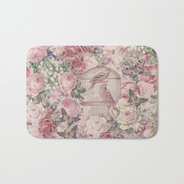 Romantic Flower Pattern And Birdcage Bath Mat