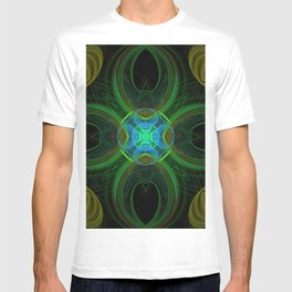 Elegant fractal kaleidoscope with surprise hearts in green on black T-shirt