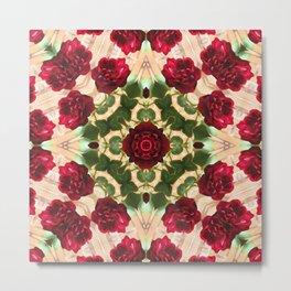 Old Red Rose Kaleidoscope 6 Metal Print