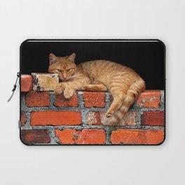 Orange Cat on Red Brick Wall Laptop Sleeve