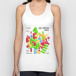 Abstract Geometric Hi-Tech Background with Colorful 3D Objects Unisex Tank Top