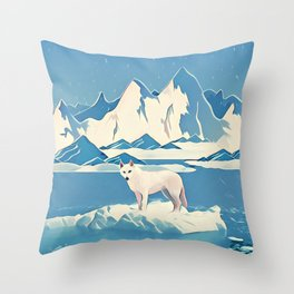 Wolf and the blue mountain Throw Pillow