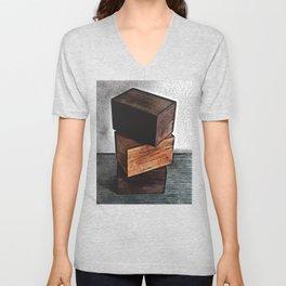 Three Wooden Boxes On Dresser Unisex V-Neck