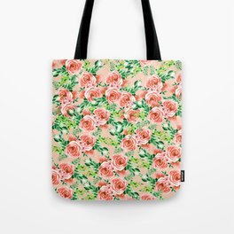 Botanical red green coral watercolor floral roses pattern Tote Bag
