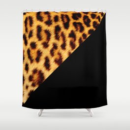 Leopard skin with black color II Shower Curtain