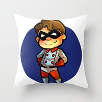 bucky Throw Pillows featuring BUCKY! by zombietonbo