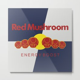 Red Mushroom Energy Boost Metal Print