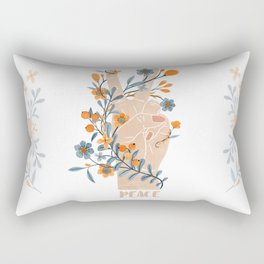 Peace Sign With Orange Flowers, Blue Flowers And Vines Rectangular Pillow