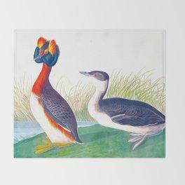 Horned Grebe Duck Throw Blanket