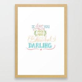 Hand Lettered I LOVE YOU Print Framed Art Print