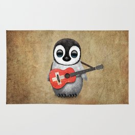 Baby Penguin Playing Swiss Flag Guitar Rug