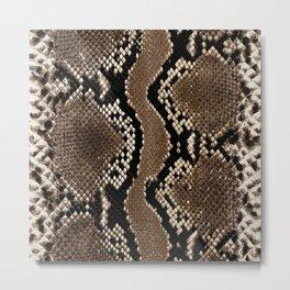 Python Skin Pattern Snake Skin Brown Animal Print Home Decor Metal Print