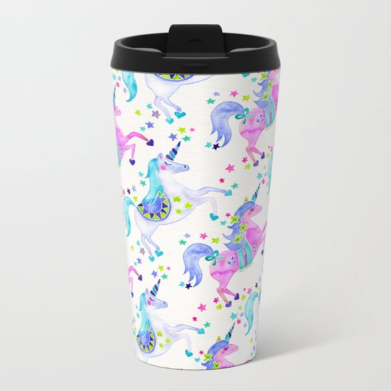 Pastel Unicorns Metal Travel Mug