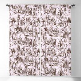 Alice in Wonderland | Toile de Jouy Pattern | Brown | Pink | Vintage Pattern | Victorian Gothic | Blackout Curtain