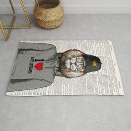 Lion Print, I LOVE MY QUEEN, Funny wall art, Art Decor, Digital Wall Art, Home decor Rug