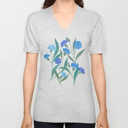 Cornflower field on bright blue Unisex V-Neck
