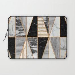Marble Triangles - Black and White Laptop Sleeve